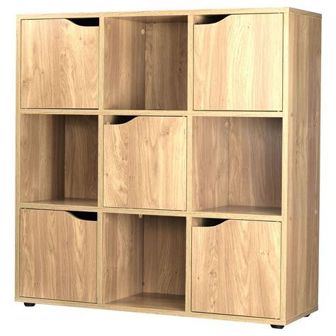 Oak 9 Cube 5 Door Wooden Storage Unit Display Shelving Shelving Unit With Doors