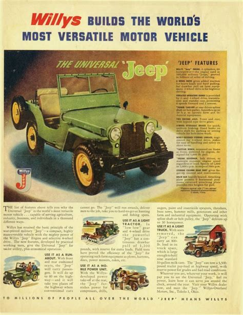 jeep ad willys jeep cj2a advertising