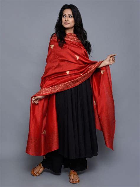 black red cotton anarkali suit set   desi couture