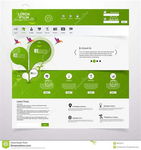 website layout vector free fresh clean website template eco theme royalty free
