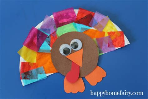 Paper Plate Turkey Crafts - fall craft ideas for candle in the