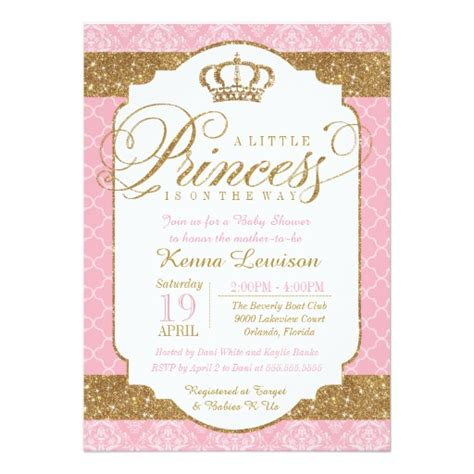 free princess baby shower invitation templates princess royal pink and gold baby shower 5x7 paper
