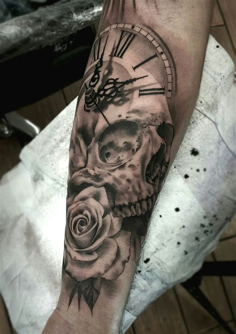 black and grey forearm tattoo designs best 25 clock and ideas on pocket