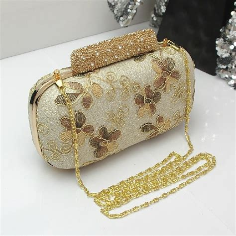 Floral Embroidered Evening Clutch by Aliexpress Buy New Fashion Gold Floral Embroidered