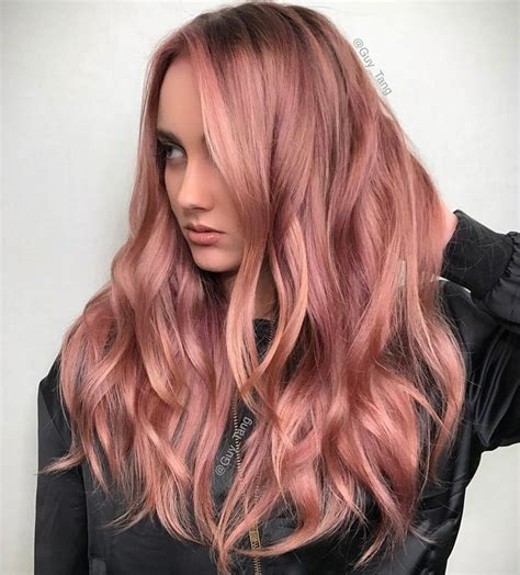 rosegold haircolor wavy rose gold hair by guy tang on instagram pink is