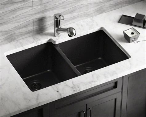 black countertop with black sink 801 black offset bowl trugranite sink