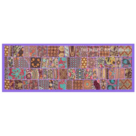 Sewn Patchwork - multi recycled sewn patchwork wall tapestry runner