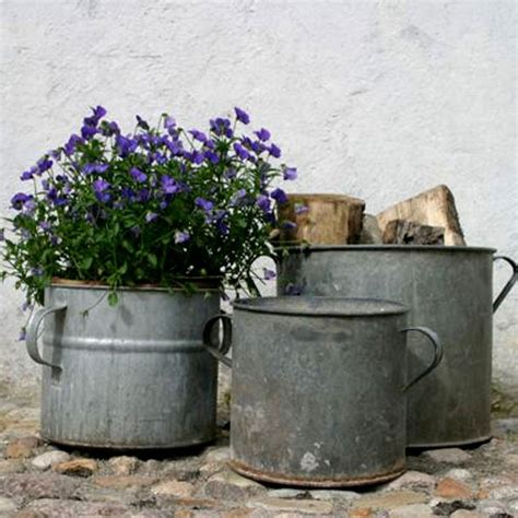 Pots And Planters by Vintage Zinc Planter Rustic Plant Pots Planters By