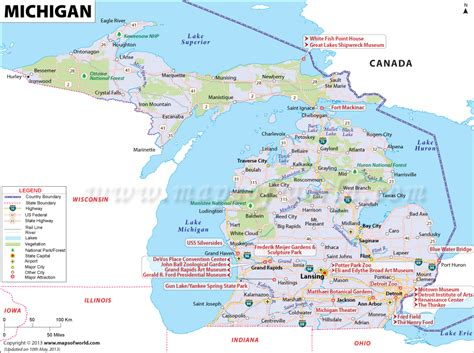 michigan maps michigan map mi 11th largest state in the us area of 96 716 sq mi map of michigan