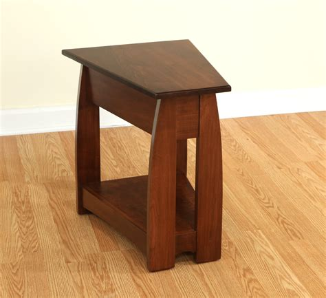 space saving end table narrow wood wedge end table with shelf of 9 space saving