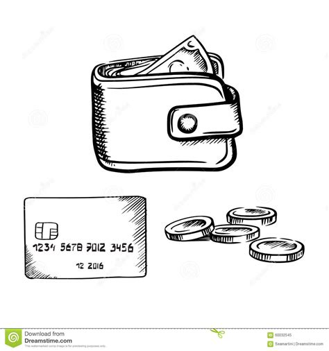 Credit Card Template Sketch Credit Card Wallet With Money And Coins Sketch Stock Vector Image 60032545