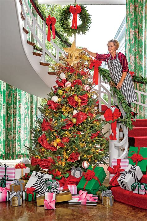 how to decorate with wide ribbon on xmas trees new ideas for tree garland southern living