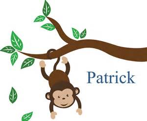 Cheap Wall Murals And Decals cartoon baby monkey hanging upside down custom wall decals