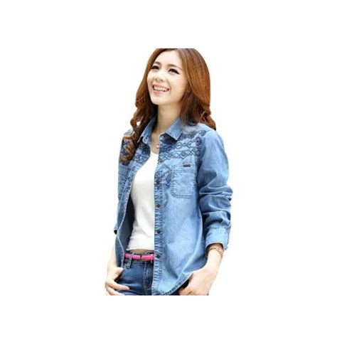 Jaket Denim Kasual Wanita Be 053 jaket denim model kemeja t1663 moro fashion