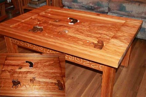 cedar carved coffee table