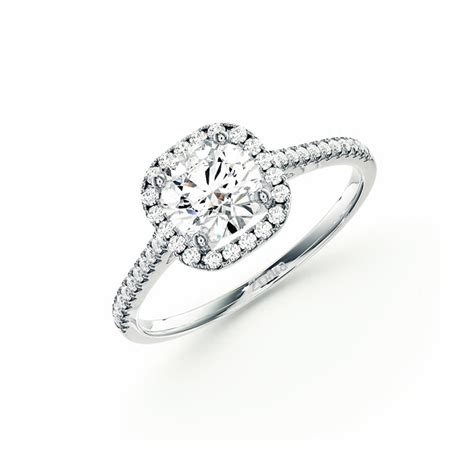 halo style cushion cut engagement ring in 14k