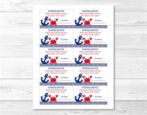 free printable raffle tickets for baby shower 8 best images of free printable diaper raffle nautical