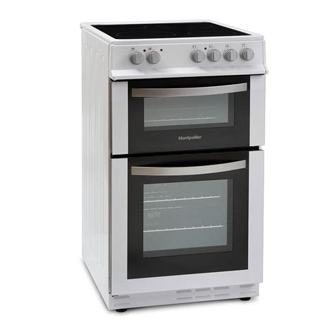 cooks kitchen appliances montpellier mte50fw twin cavity electric cooker
