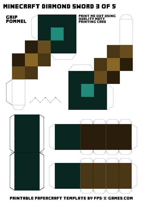 Free Minecraft Papercraft Templates - minecraft sword template 3 of 5