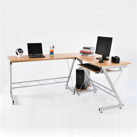 L Shaped Student Desk Homcom 3pc L Shaped Corner Desk Student Computer Workstation Home Office Study Ebay