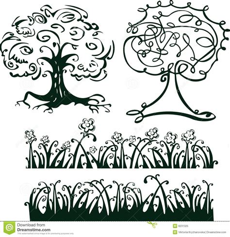 adobe illustrator grass pattern pattern of trees and grass for design royalty free stock