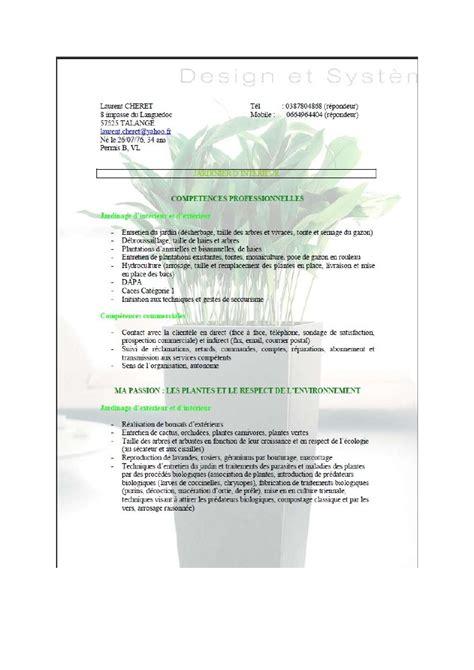 Lettre De Motivation De Jardinier Modele Cv Jardinier D Espaces Verts Cv Anonyme