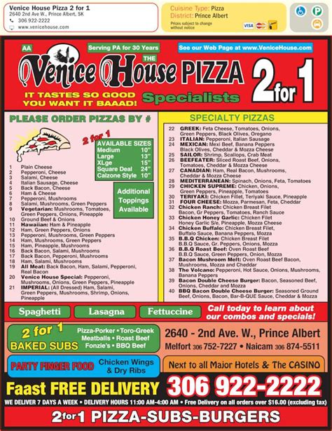 venice pizza house venice house pizza 2 for 1 prince albert sk 2640 2nd ave w canpages
