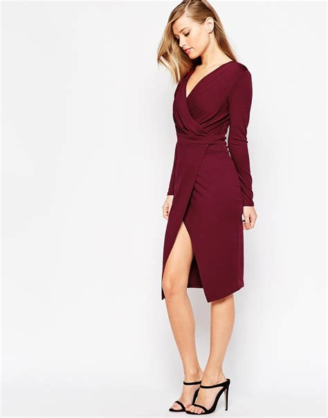 asos drape dress asos twist drape front midi pencil dress in purple lyst