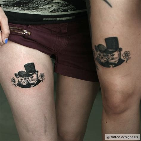 couple kitty tattoo matching cat couple tattoo