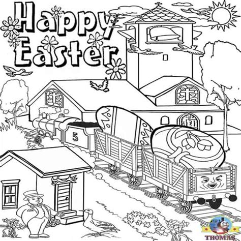 easter train coloring page kids happy easter coloring pictures of thomas the train