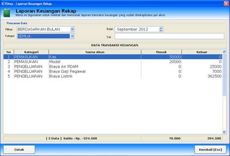 membuat aplikasi laporan keuangan dengan access menu laporan keuangan rekap pada aplikasi penjualan