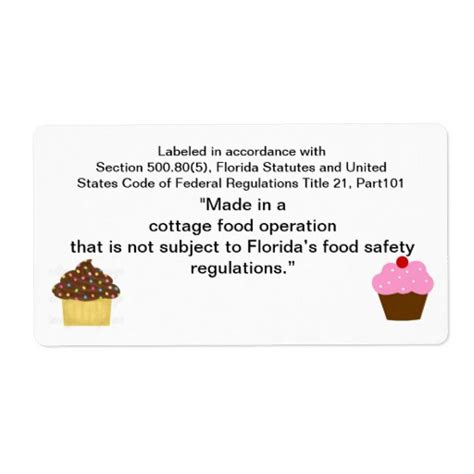cottage food labels florida cottage food label for home baker shipping