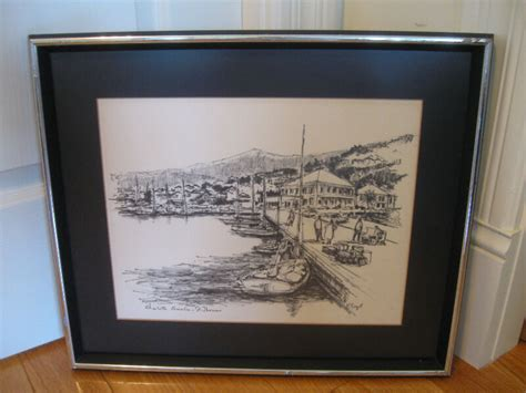 P Sigal Sketches by Large Framed Matted Pencil Sketch Quot St Quot By P