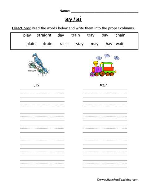 ai vowel pattern worksheets vowel worksheet ai ay have fun teaching