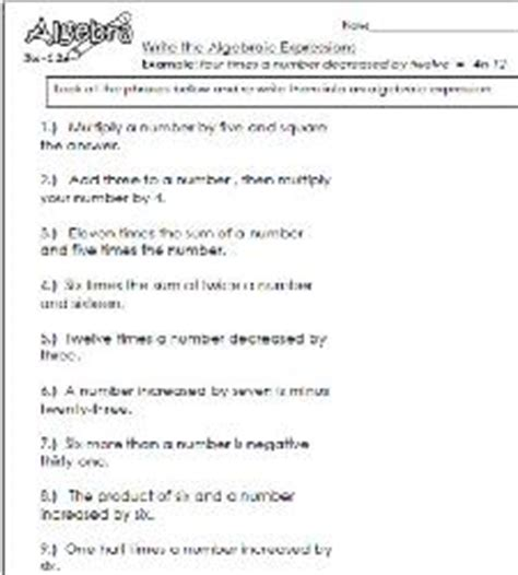 Writing Algebraic Expressions Worksheets by Writing Expressions Worksheets Facialreviveserum