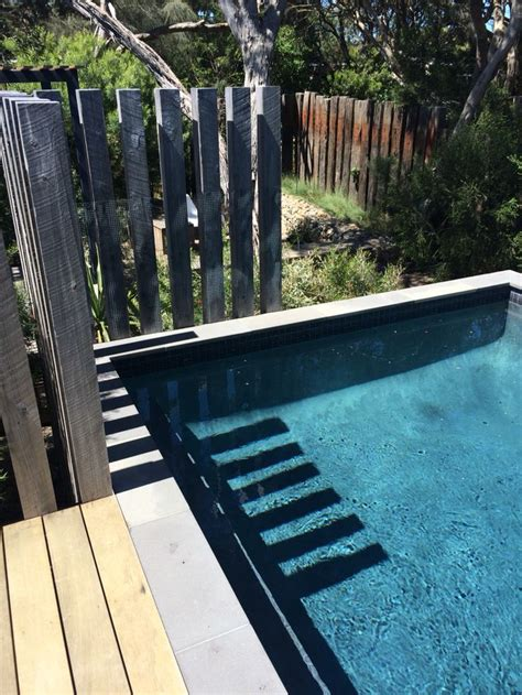 Landscape Timbers Around Above Ground Pool Coastal Garden Above Ground Concrete Pool With Timber