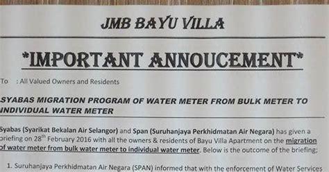 jmb bayu villa apartment klang berhubung isu migrasi air di bayu villa