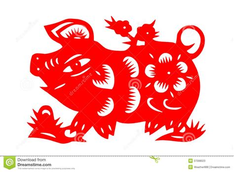 chinese paper cut pig stock photos image 37098023
