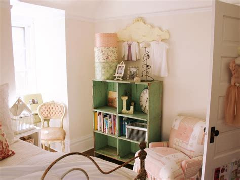 Prepossessing kids bedroom in vintage style decor contains cool wooden rack storage beside