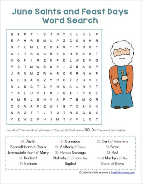 printable word searches for june june saints and feast days word search for catholic kids