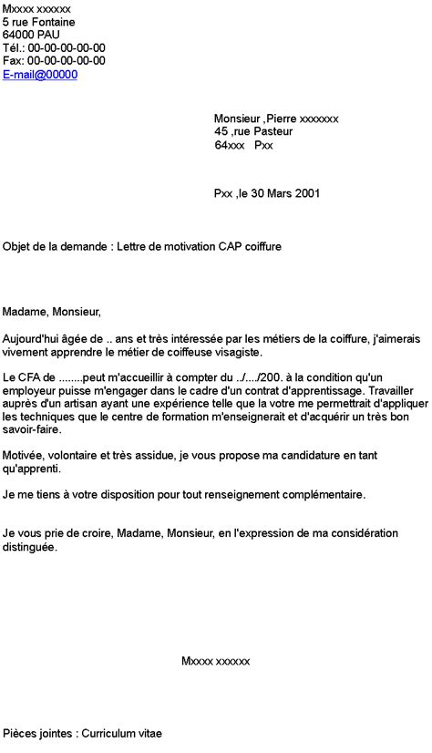 Exemple Lettre De Motivation Coiffure Ppt Lettre De Motivation Contrat D Apprentissage