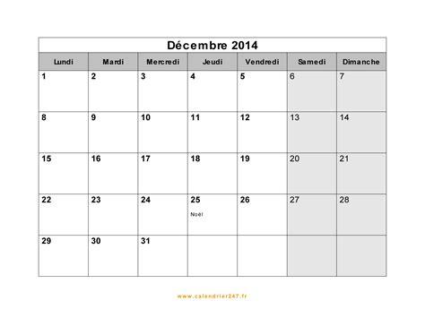 calendrier d 233 cembre 2014 224 imprimer gratuit en pdf et excel