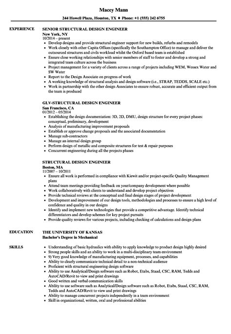 design engineer resume exles structural design engineer resume sles velvet jobs