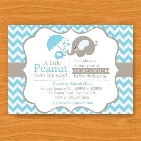 baby shower invites elephants printable baby shower invitation a peanut is on