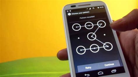 pattern unlock moto e how to set and remove pattern lock in moto e smartphone