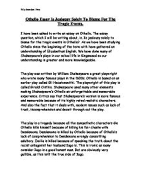 Othello Essays On Jealousy by Othello Essay Is Jealousy Solely To Blame For The Tragic Events Gcse Marked By