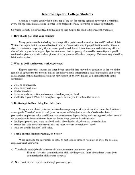 What Should Be On A Resume For College by College Student Resume Exle Sle Http Www