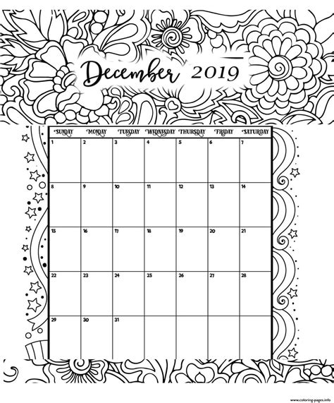 december calendar  coloring pages printable