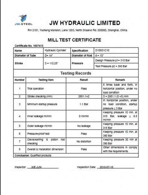 pressure test certificate template racking can offer mill certificate for each lot of