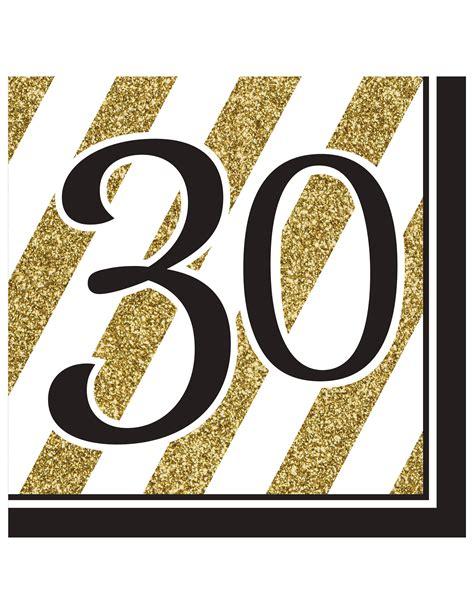La 16 Gold geburtstagsservietten 30 jahre jubil 228 umsservietten 16 st 252 ck gold schwarz weiss 33x33cm